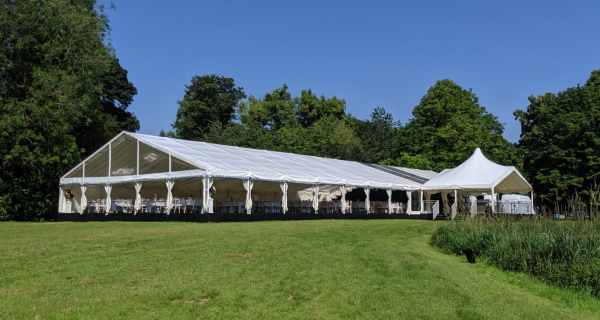 Wedding marquee on the banks of West Wycombe park lake