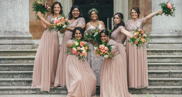 Wedding Photographer Blush pink Bridesmaids holding peony bouquets