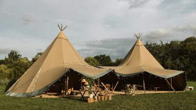 Tipi set up for a rustic wedding